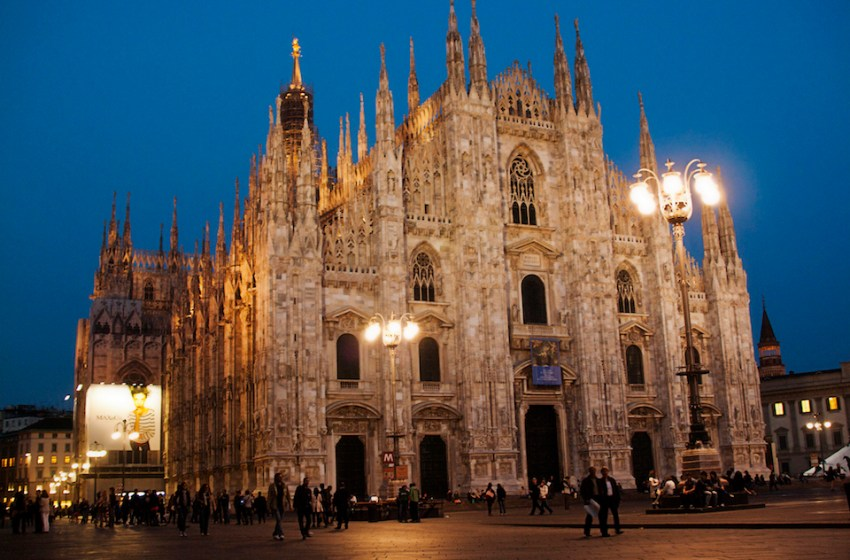 The Milan Cathedral (Duomo di Milano) pictured at night