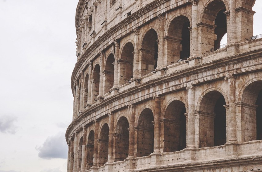 The Colosseum in the centre of the city of Rome, Italy