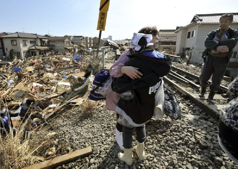 Devastated area following earthquake and tsunami in Japan