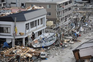 A fishing boat is among debris in Ofunato, Japan, following a 9.0 magnitude earthquake and subsequent tsunami