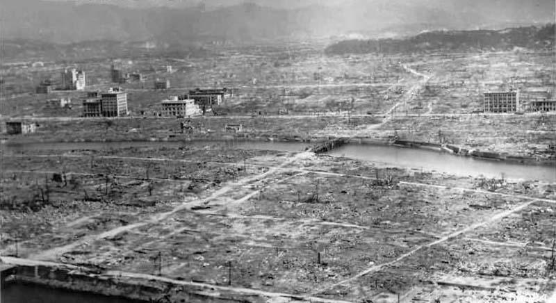 Atomic bomb destruction in Hiroshima, Japan