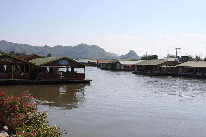 Tenasserim Hills and floating houses on the Kwai river in Kanchanaburi