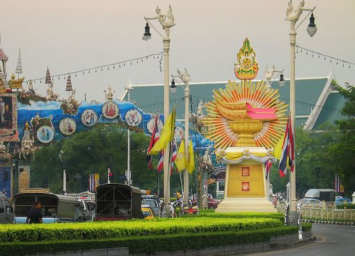"Several ""exhibits"" showing the Royal Thai Regalia on Ratchadamnoen Avenue in Bangkok in honour of the 60th anniversary of H.M. King Bhumibol Adulyadej's ascension to the throne"