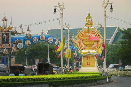 """Several """"exhibits"""" showing the Royal Thai Regalia on Ratchadamnoen Avenue in Bangkok in honour of the 60th anniversary of H.M. King Bhumibol Adulyadej's ascension to the throne"""