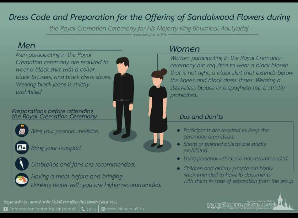 Recommendations regarding the dress code during the funeral of His Majesty King Bhumibol Adulyadej