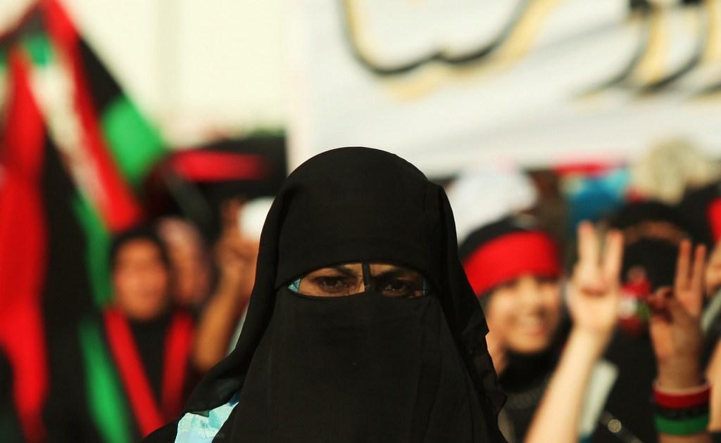 Libyan girl wearing a niqab