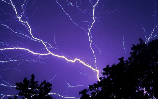 Lightning during a heavy storm