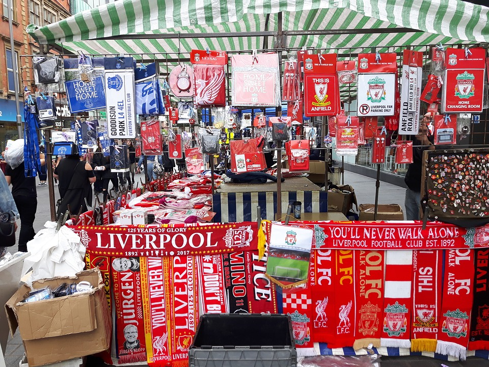 Shop selling Liverpool FC merchandising