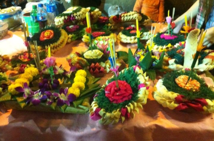 Artistic Krathongs for the Loy Krathong Festival in Thailand