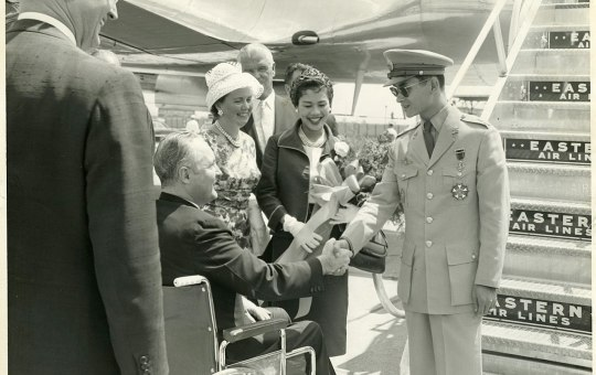 Mayor John F. Collins and Mary Collins with Queen Sirikit and King Bhumibol Adulyadej of Thailand in Boston, 1960