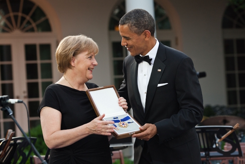 Angela Merkel and Barak Hussein Obama