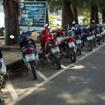 Motorcycles parked in the main street of Rawai beach