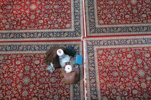 Muslim clerics inside a mosque