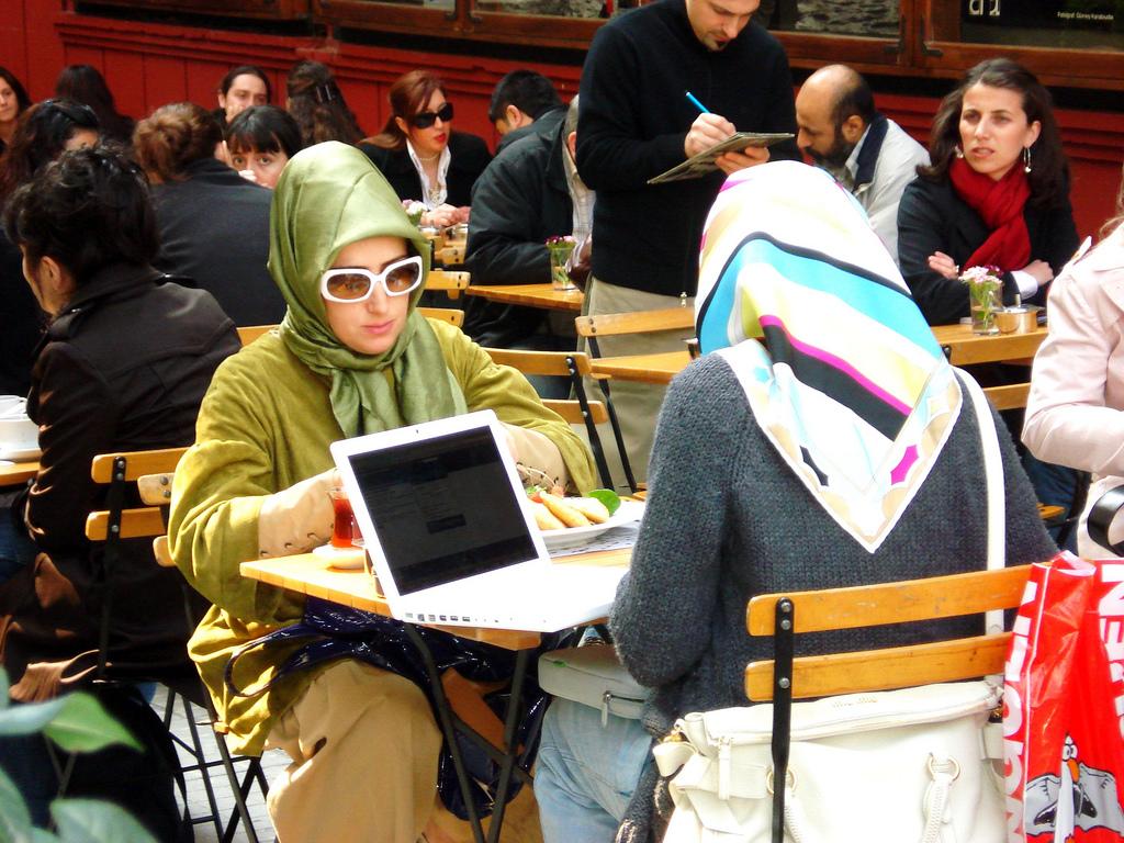 Muslim women wearing headscarves