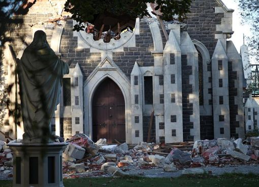 Christchurch in New Zealand after a powerful earthquake