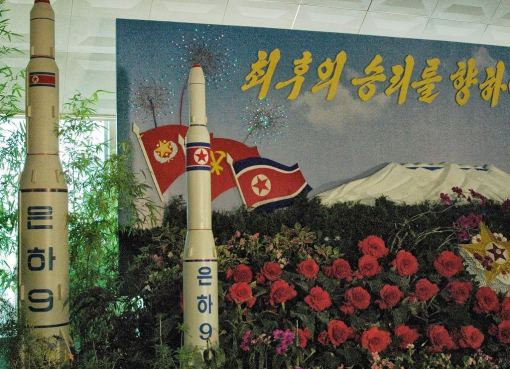 "A model of the ""Unha-9"" missile at a exhibition in Pyongyang"