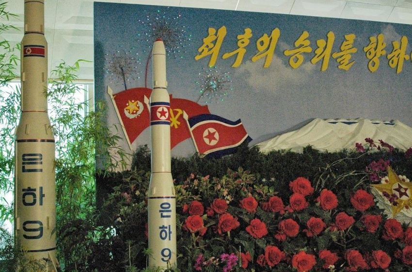 """A model of the """"Unha-9"""" missile at a exhibition in Pyongyang"""