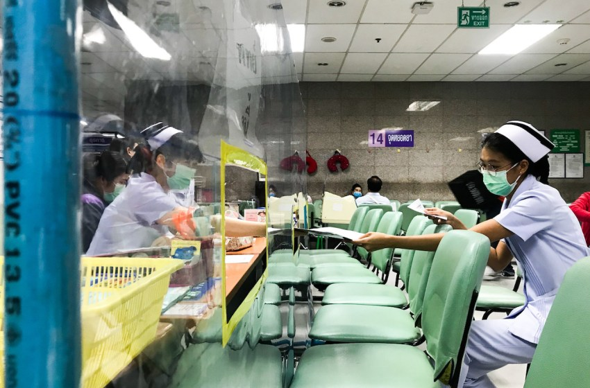 Acrylic shields installed to prevent the spreading of coronavirus and to keep social distance between nurses and patients at the Bangkok Metropolitan Administration General Hospital, a public hospital in Thailand