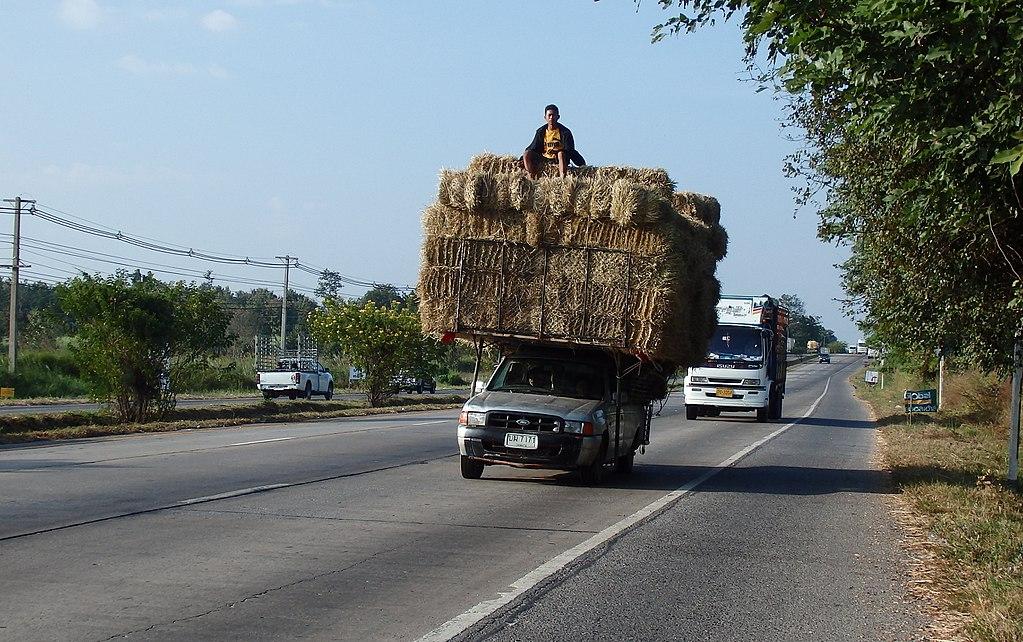 Overloaded pickup truck in Khon Kaen