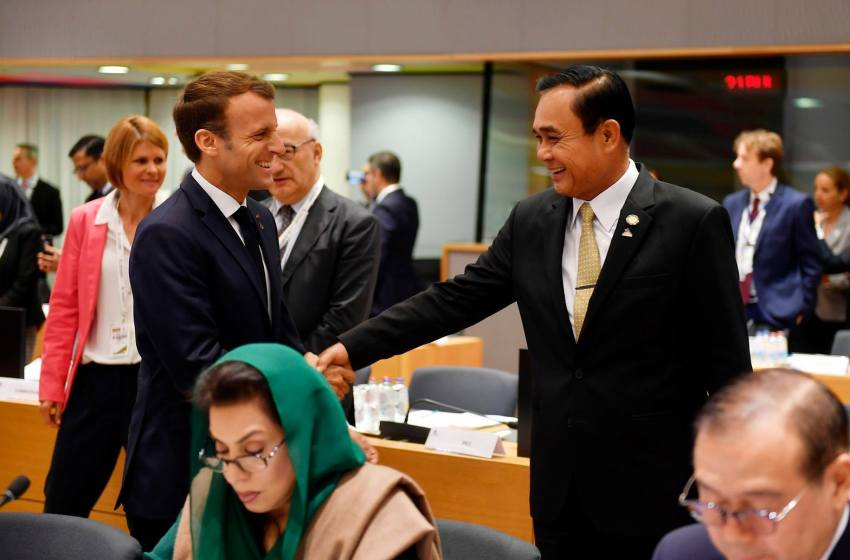 President of France Emmanuel Macron and Thai PM Prayut Chan-ocha attending the ASEM Asia–Europe Meeting in Belgium