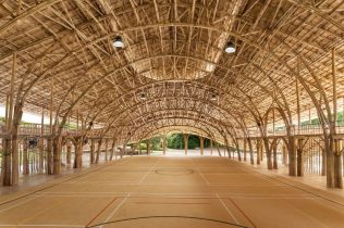Inside the eco-friendly bamboo Sport Hall at Panyaden School, Chiang Mai