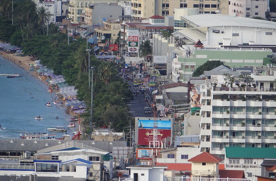 Pattaya Beach road with city skyline