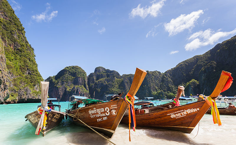 Long-tail boats at Maya Beach, Koh Phi Phi