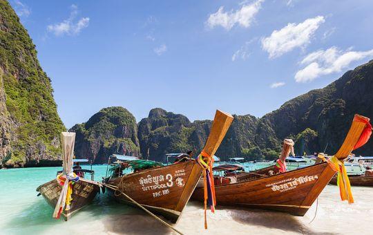 Long-tail boats at Maya Beach, Koh Phi Phi
