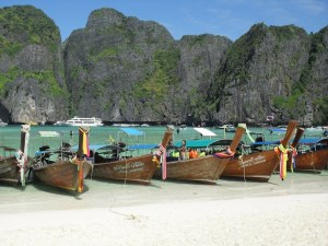 Long tail boats on Maya Beach, Phi Phi Islands