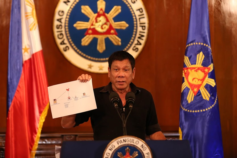 President Rodrigo Duterte presents a chart illustrating a drug trade network