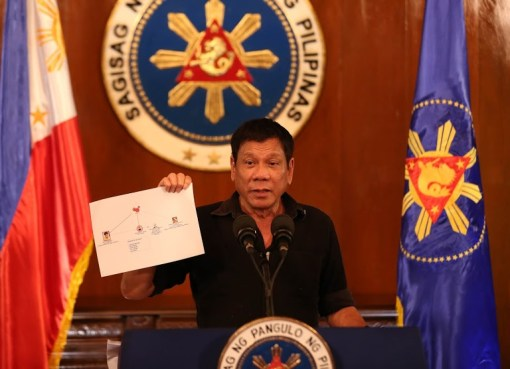 President Rodrigo Duterte presents a chart illustrating a drug trade network