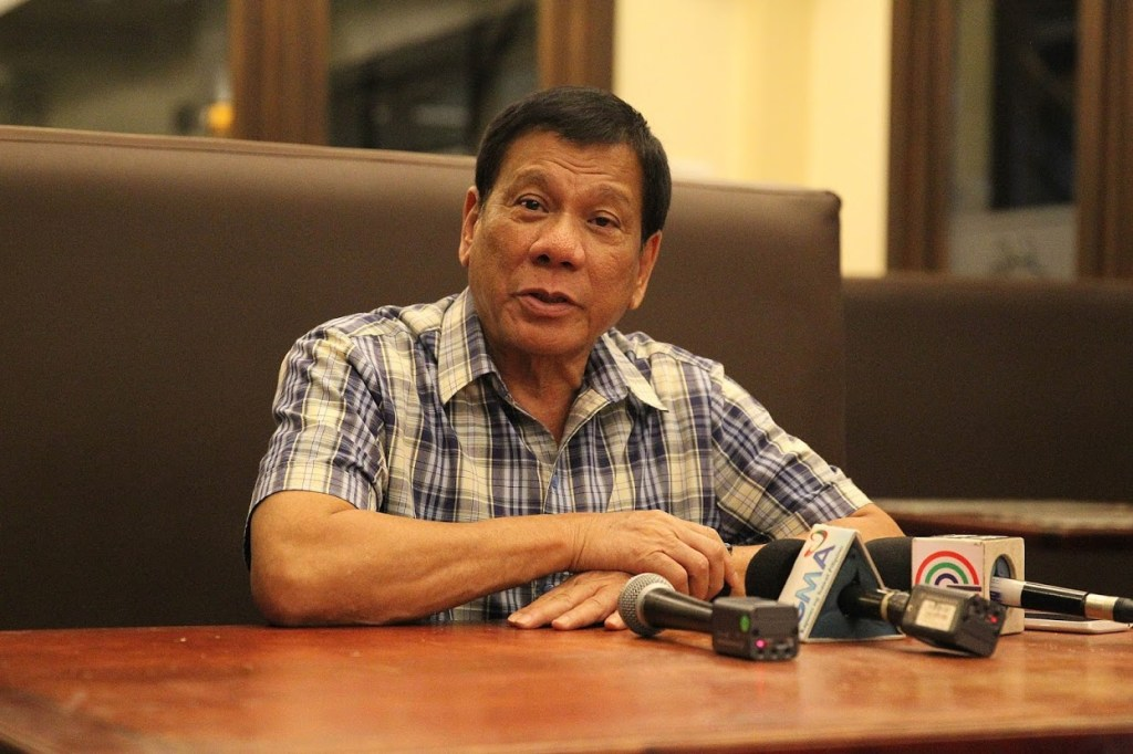 President Rodrigo Roa Duterte, during a press conference at Hotel Elena in Davao City on August 8
