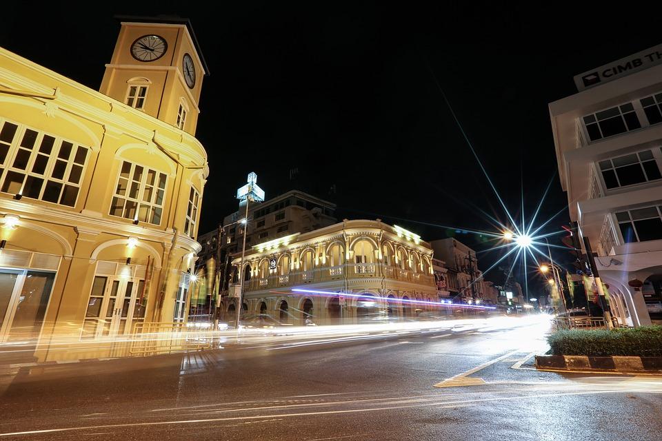 Phuket town at night