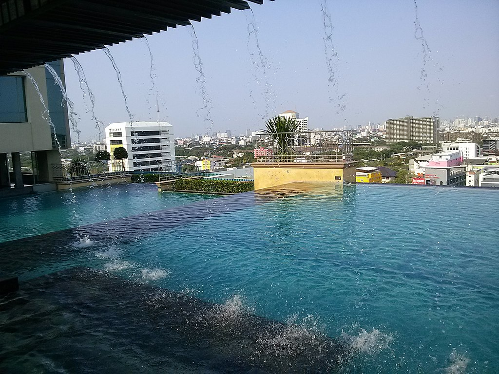 Pool on the top of a building in Hua Mak, Bangkok