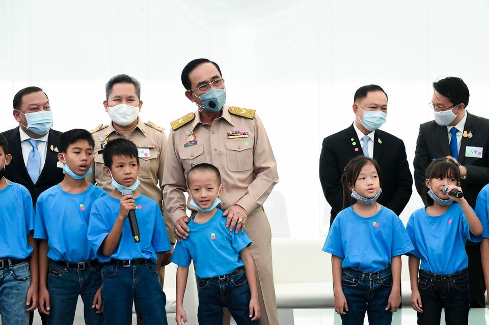 PM Prayut Chan-o-cha during a visit to a school