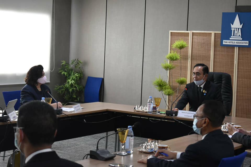 Prayut Chan-o-cha during a meeting at Thai Hotels Association