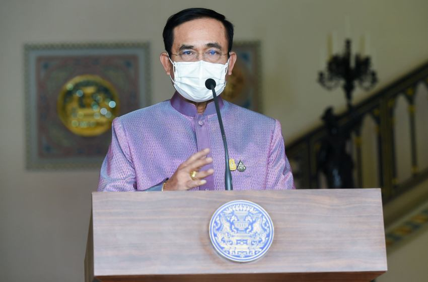 Prayut Chan-o-cha giving a speech during the Covid-19 pandemic