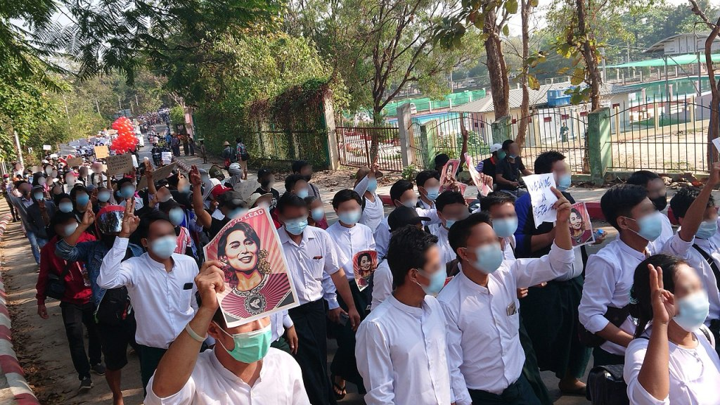 Protest against military coup on 9 Feb 2021 at Hpa-An, Kayin State, Myanmar
