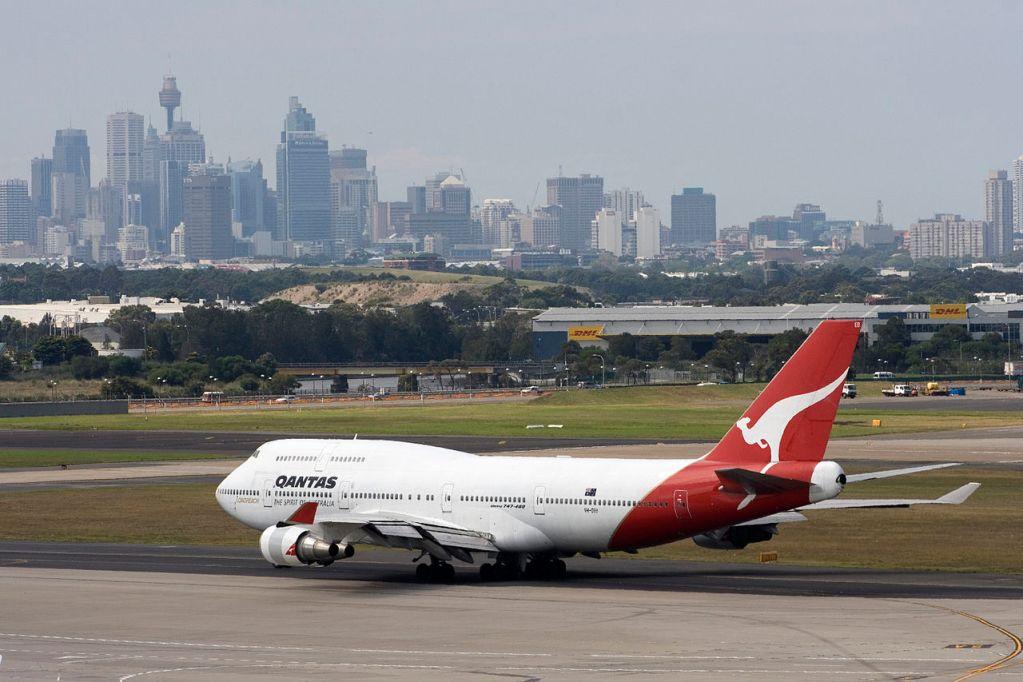 Qantas Boeing 747-400 at Sydney Airport