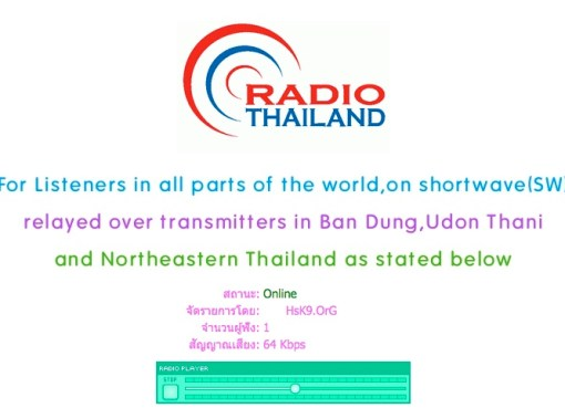 Screenshot of Radio Thailand website