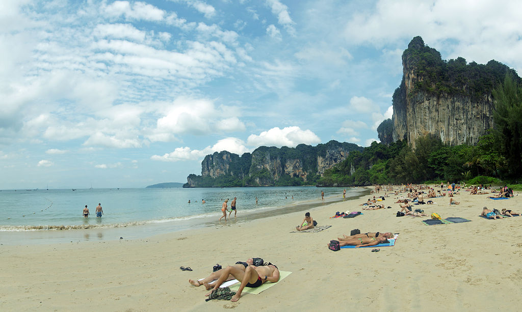 Tourists at Railay beach in Krabi