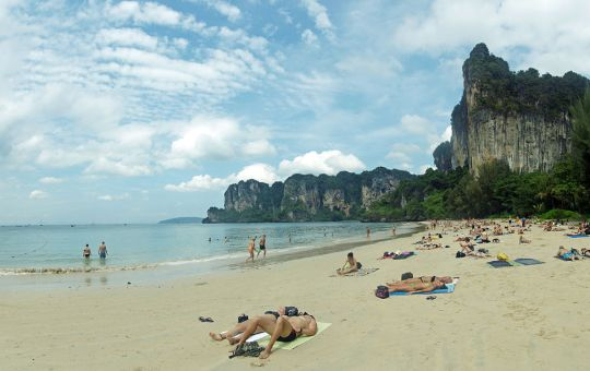 Tourists at Railay beach in Krabi