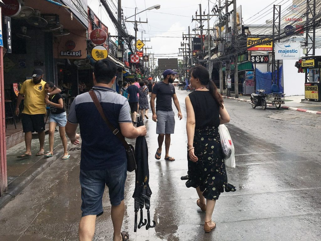 Rain at Bangla Road in Patong, Phuket