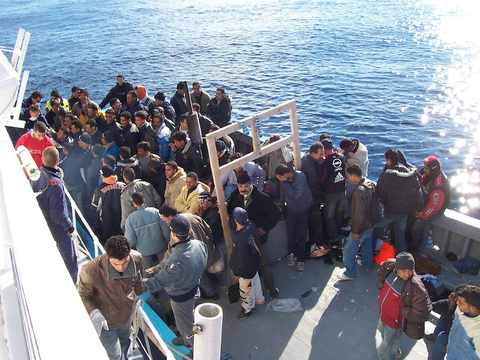 Refugees from North Africa in Lampedusa, Italy