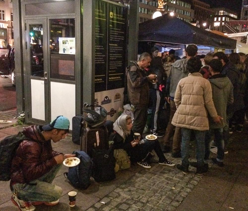 Syrian refugees at Stockholm Central Station