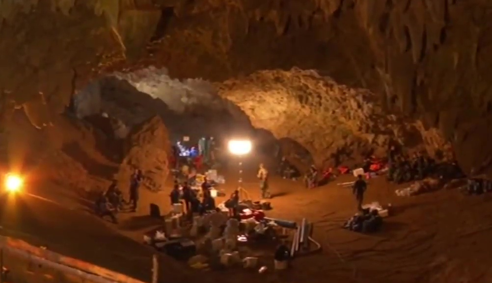 Rescue team at Tham Luang cave, Chiang Rai