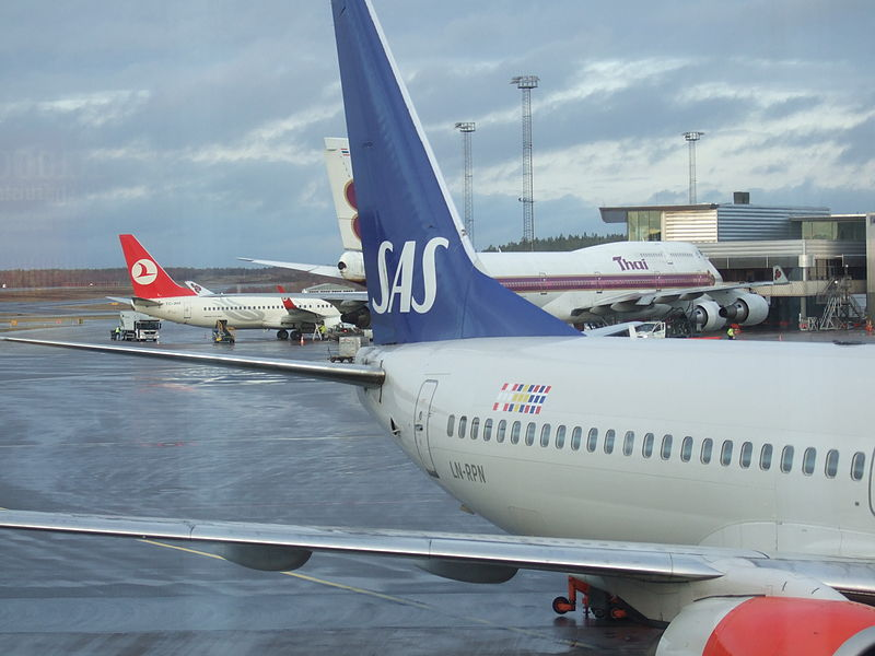 SAS and Turkish Airlines aircrafts parked at Stockholm-Arlanda Airport, Sweden