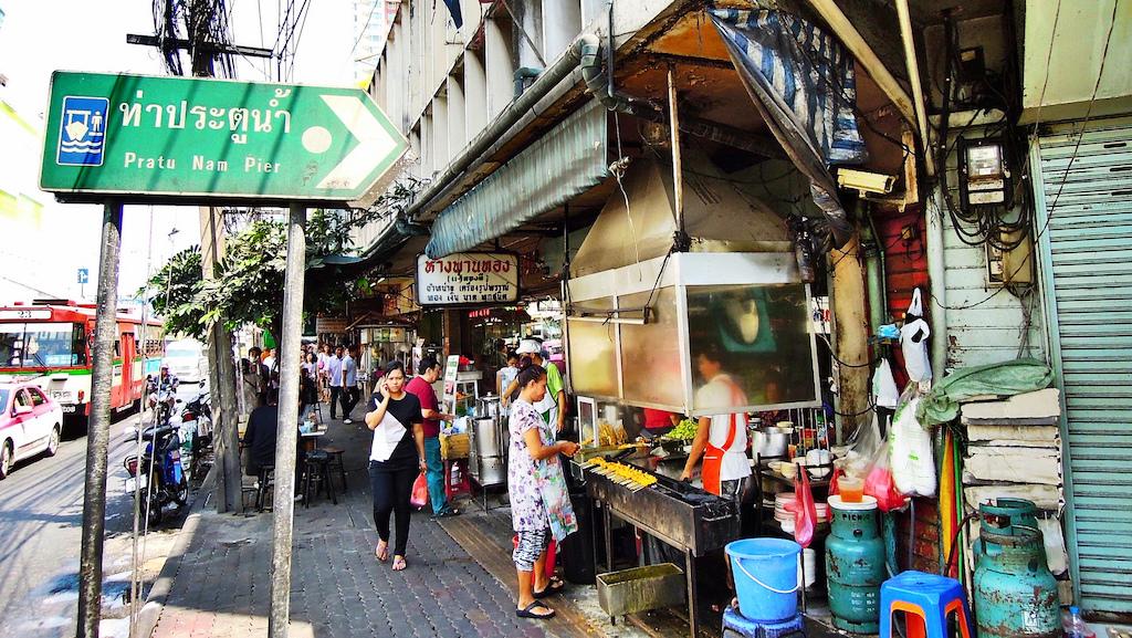 Satay vendor in Ratchathewi District, Bangkok