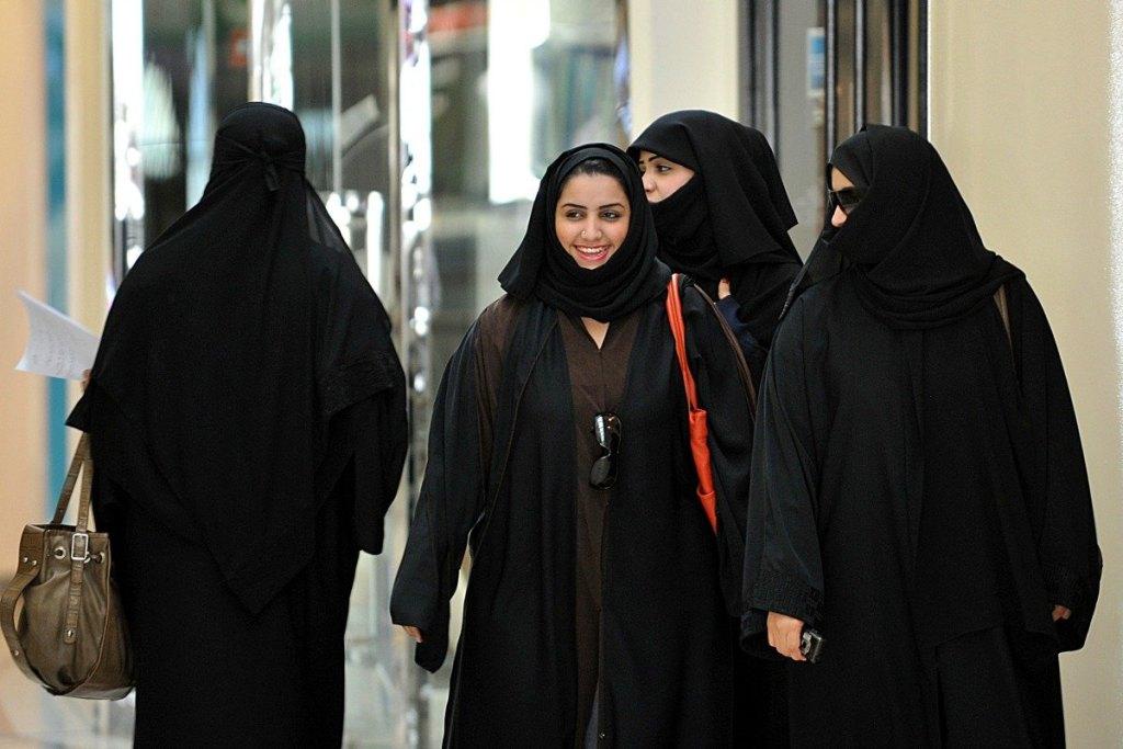 Saudi women walking inside a shopping centre in Riyad