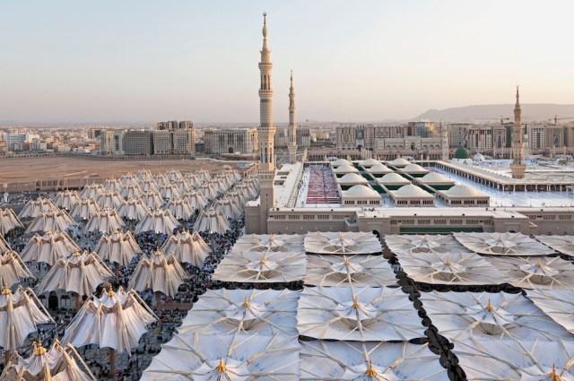 Piazza of the Prophet's Holy Mosque in Medina, Saudi Arabia